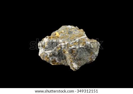 Mineral Chalcopyrite (copper iron sulfide mineral) - stock photo