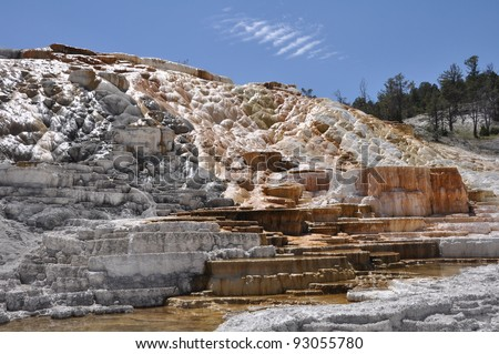 Mineral deposits in Mammoth Hot Springs in Yellowstone National Park