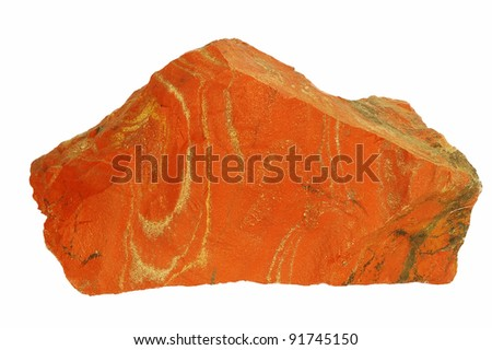Mineral jasper isolated on white background.