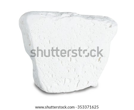 Mineral kaolinite (kaolin) isolated on white background. The main use of the mineral kaolinite is the production of paper; its use ensures the gloss on some grades of coated paper. - stock photo