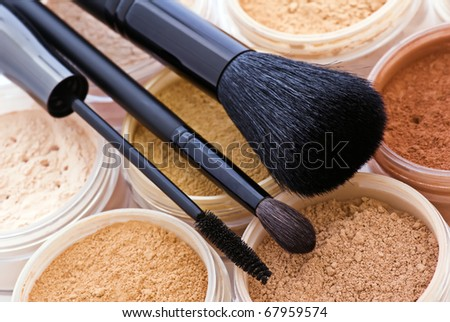 mineral make up with brushes - stock photo