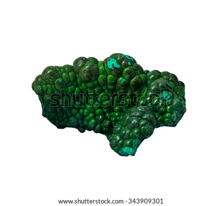 Mineral Malachite on the white background, isolated - stock photo