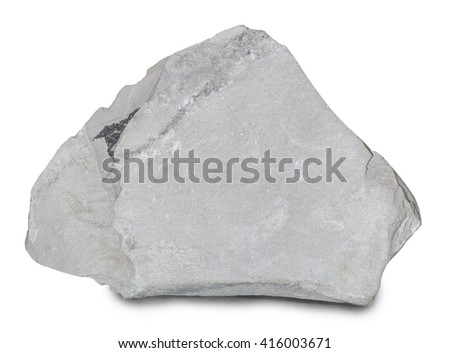 Mineral  marl (marlstone) isolated on white background. Marlstone is a calcium carbonate or lime-rich mud or mudstone which contains variable amounts of clays and silt.