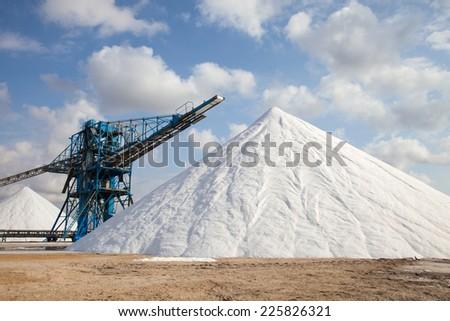 mineral salt in mine opencast mining - stock photo
