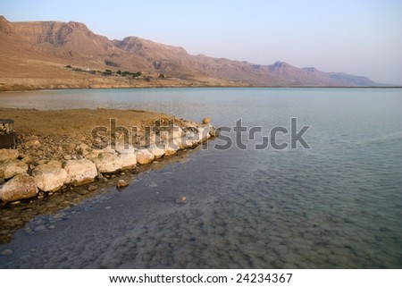 Mineral salts at the Dead Sea - stock photo