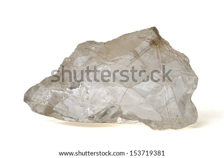 MINERAL SERIES: Rutilated quartz from Brazil, isolated on white. 11cm across. - stock photo