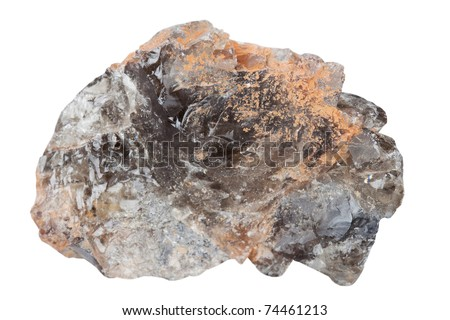Mineral smoky quartz it is isolated on a white background