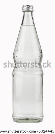 Mineral Water Bottle,Glass,isolated with paths - stock photo
