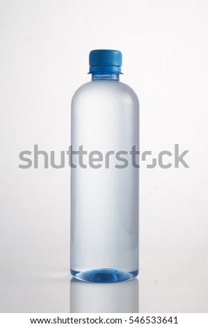 Mineral water bottle with cap on a white background