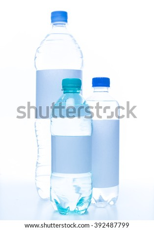 Mineral water bottles isolated on white background