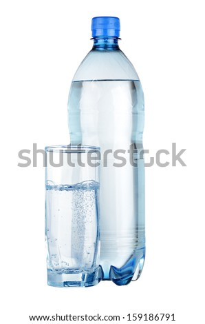 Mineral water in bottle and glass isolated on white background