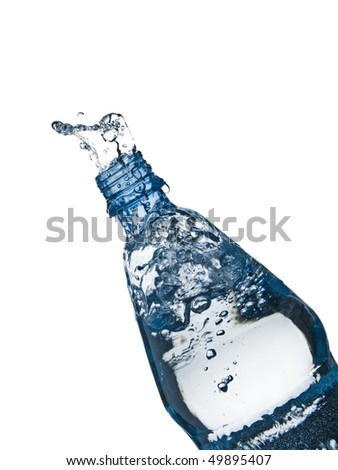 mineral water splashing from a bottle