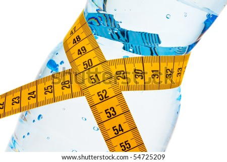 Mineral water. Symbol weight loss. - stock photo