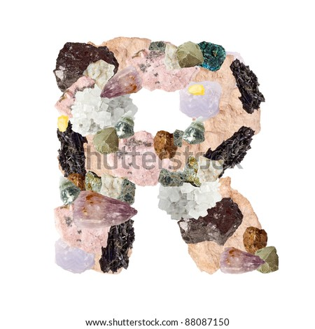 Minerales alphabet isolated on white background Letter R - stock photo