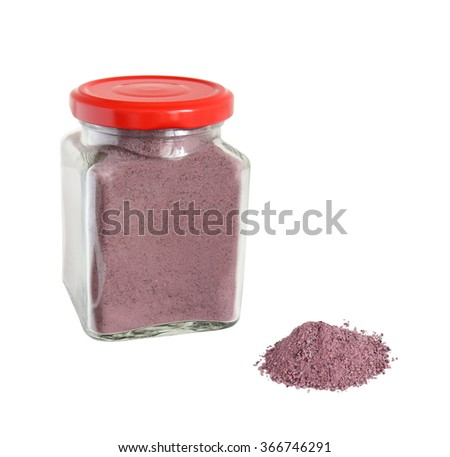 mineralized blueberry powder isolated on white