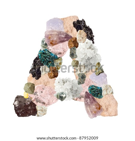Minerals alphabet isolated on white background Letter A - stock photo