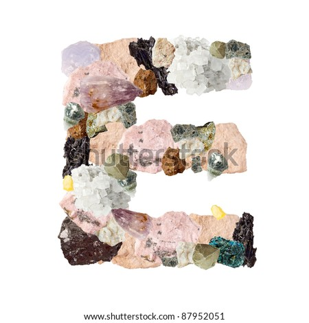 Minerals alphabet isolated on white background Letter E - stock photo