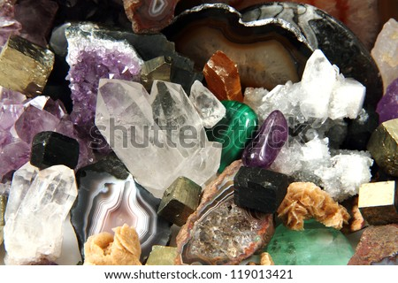 minerals and gems background - stock photo