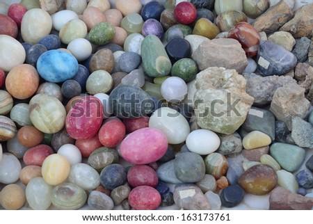 Minerals Chemical composition eight  elements: oxygen, silicon, aluminum, iron, magnesium, calcium, sodium and potassium - stock photo