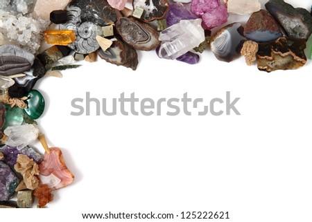 minerals (gemstones) background - stock photo