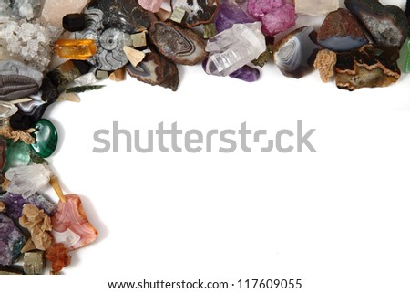 minerals (gemstones) isolated on the white background as nice frame - stock photo