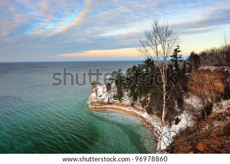 Miners Castle in wintertime,Pictured Rocks National Lake-shore - Munising, Michigan USA