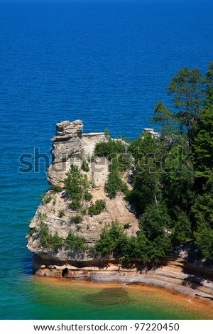 Miners Castle, Pictured Rocks National Lakeshore, Lake Superior, Michigan - stock photo