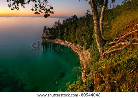 Miners Castle rock formation at sunset. Located in Pictured Rock National Shoreline, Michigan, USA.