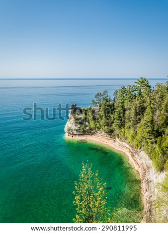 Miners Castle rock formation on Lake Superior, as ssen from Miners Castle overlook near Munising, Pictured Rocks National Lake shore - stock photo