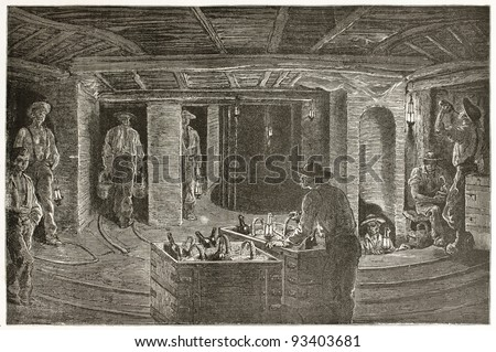 Miners dining underground, old illustration. Created by Neuville after Bonhomme, published on Le Tour du Monde, Paris, 1867 - stock photo
