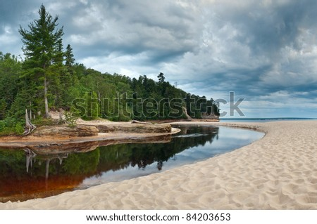 Miners river. Image of Miners River flowing into Lake Superior taken in Pictured Rocks National Lakeshore, Michigan. - stock photo