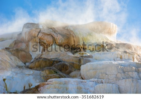Minerva Terrace at Mammoth Hot Springs in Yellowstone National Park Wyoming. - stock photo