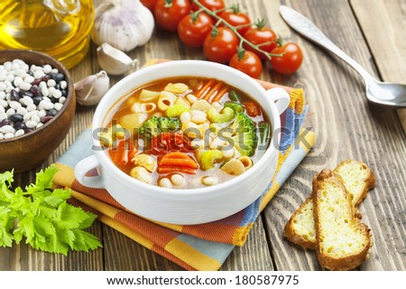 Minestrone, italian vegetable soup with pasta - stock photo