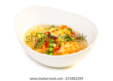 Minestrone soup in bowl isolated on white. Traditional Italian soup - stock photo