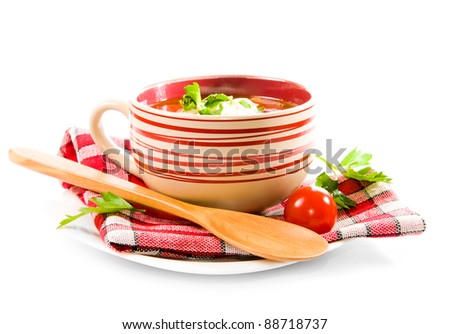 Minestrone vegetable soup over a white background - stock photo