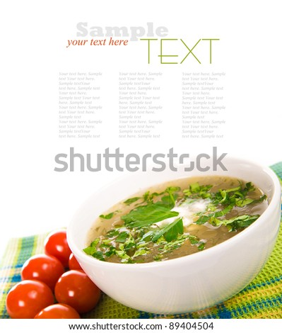 Minestrone vegetable soup ower a white background - stock photo