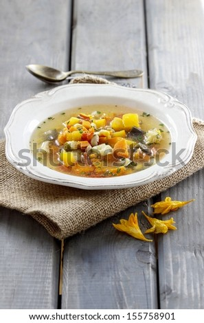 Minestrone, vegetable soup. Selective focus - stock photo