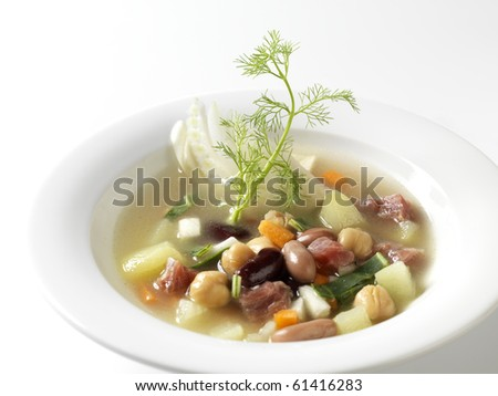 Minestrone with fennel and ham - stock photo