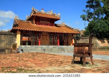 Ming Mang tomb with blue sky at Hue - stock photo