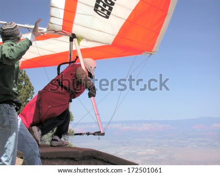 Mingus Mountain, AZ - May 1, 2004:  Hang glider launches from Mingus Mountain near Jerome, AZ.