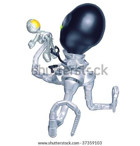Mini Astronaut Attacked By Tripodian Alien - stock photo