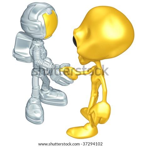 Mini Astronaut First Contact - stock photo