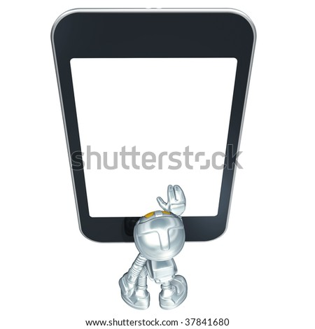 Mini Astronaut With Touch Screen Device - stock photo