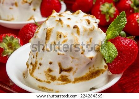 "mini baked Alaska made with chocolate brownie and strawberry ice cream  ""mini baked Alaska"", - stock photo"