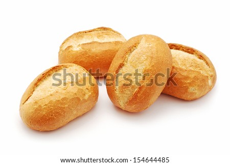 mini bread on white background - stock photo
