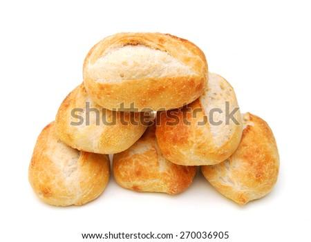 mini bread on white background  - stock photo
