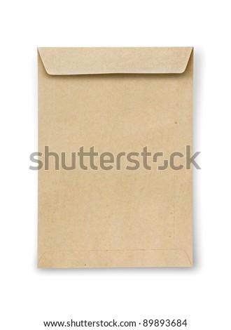 Mini brown Envelope on white background - stock photo
