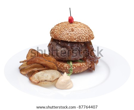 Mini burger from the Czech black angus rib with confit - stock photo