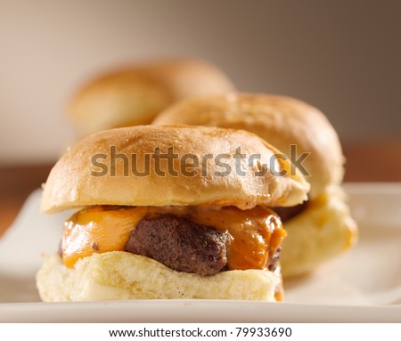 mini burger sliders shot with selective focus - stock photo