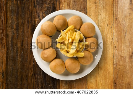 mini burger sliders with cheese - stock photo